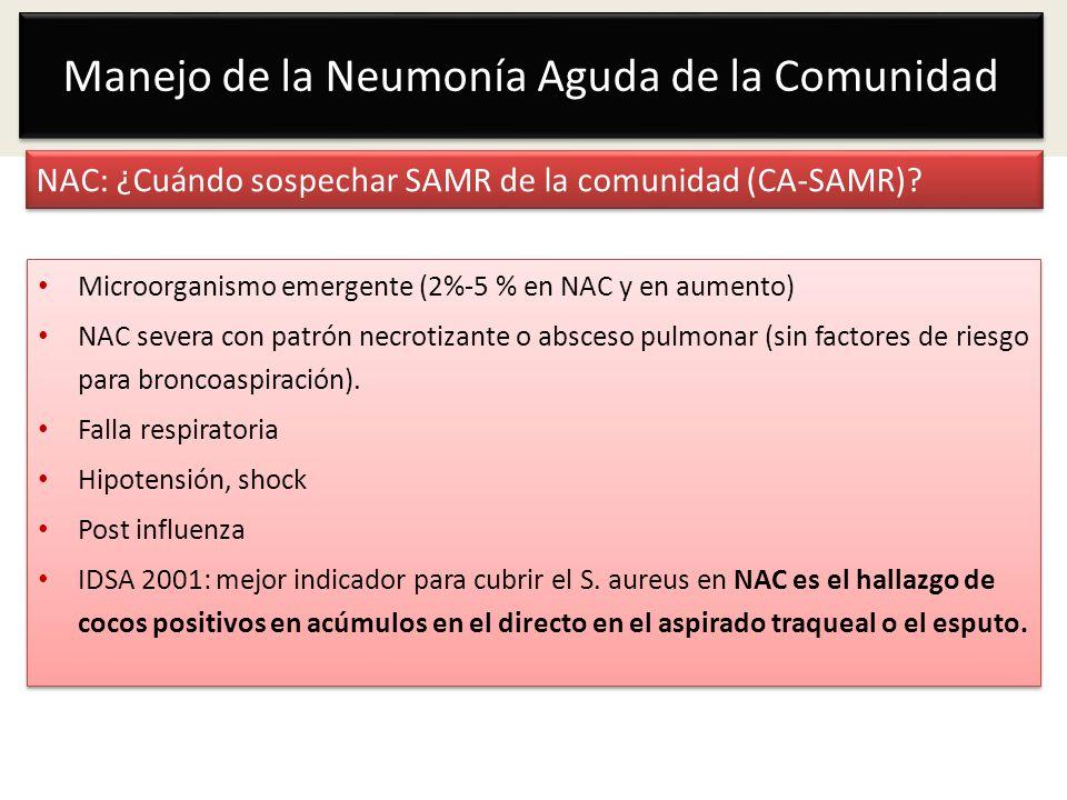 NAC: ¿Cuándo sospechar SAMR de la comunidad (CA-SAMR)? Microorganismo emergente (2%-5 % en NAC y en aumento) NAC severa con patrón necrotizante o absc