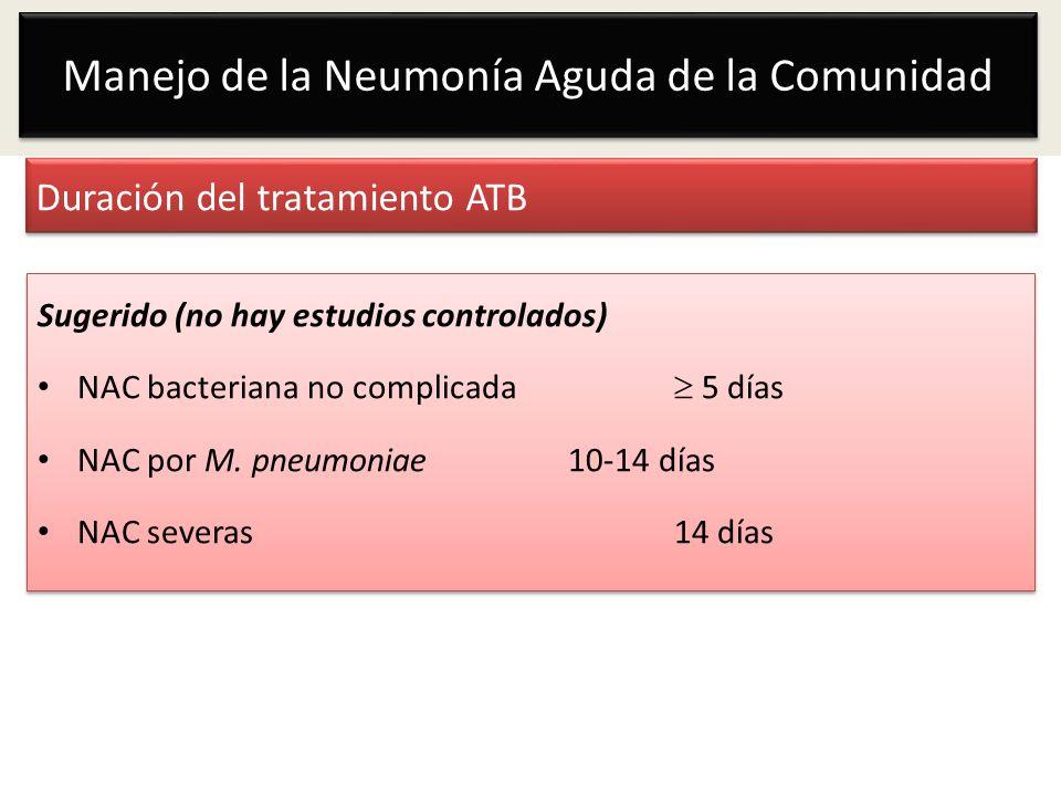 Duración del tratamiento ATB Sugerido (no hay estudios controlados) NAC bacteriana no complicada 5 días NAC por M. pneumoniae10-14 días NAC severas 14