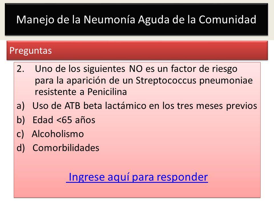Manejo de la Neumonía Aguda de la Comunidad Preguntas 2.Uno de los siguientes NO es un factor de riesgo para la aparición de un Streptococcus pneumoni