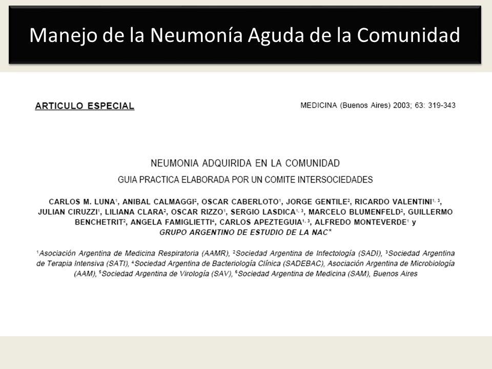 Manejo de la Neumonía Aguda de la Comunidad Rol de la PCR en tiempo real M.