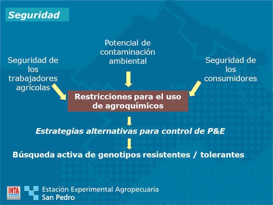 Seguridad Seguridad de los trabajadores agrícolas Potencial de contaminación ambiental Seguridad de los consumidores Restricciones para el uso de agroquímicos Estrategias alternativas para control de P&E Búsqueda activa de genotipos resistentes / tolerantes