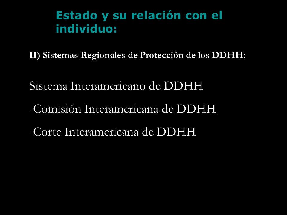 Estado y su relación con el individuo: II) Sistemas Regionales de Protección de los DDHH: Sistema Interamericano de DDHH -Comisión Interamericana de D