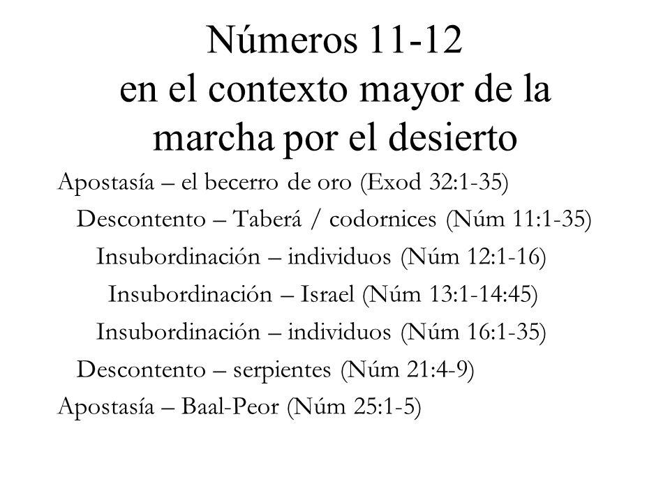 Números 11-12 en el contexto mayor de la marcha por el desierto Apostasía – el becerro de oro (Exod 32:1-35) Descontento – Taberá / codornices (Núm 11:1-35) Insubordinación – individuos (Núm 12:1-16) Insubordinación – Israel (Núm 13:1-14:45) Insubordinación – individuos (Núm 16:1-35) Descontento – serpientes (Núm 21:4-9) Apostasía – Baal-Peor (Núm 25:1-5)