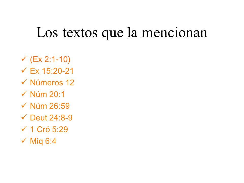 Los textos que la mencionan (Ex 2:1-10) Ex 15:20-21 Números 12 Núm 20:1 Núm 26:59 Deut 24:8-9 1 Cró 5:29 Miq 6:4