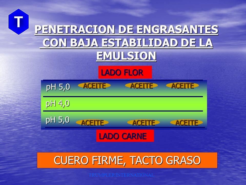TRUMPLER INTERNATIONAL INFLUENCIA DE LA ESTABILIDAD DE LA EMULSION EN EL ENGRASE AUMENTO penetracion AUMENTO ESTAB. DE EMULSION : DISMINUYE TAMAÑO DEP