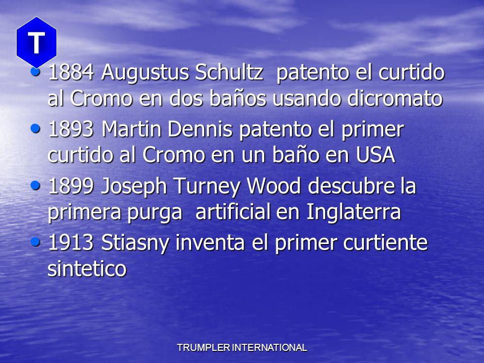 TRUMPLER INTERNATIONAL 1884 Augustus Schultz patento el curtido al Cromo en dos baños usando dicromato 1884 Augustus Schultz patento el curtido al Cromo en dos baños usando dicromato 1893 Martin Dennis patento el primer curtido al Cromo en un baño en USA 1893 Martin Dennis patento el primer curtido al Cromo en un baño en USA 1899 Joseph Turney Wood descubre la primera purga artificial en Inglaterra 1899 Joseph Turney Wood descubre la primera purga artificial en Inglaterra 1913 Stiasny inventa el primer curtiente sintetico 1913 Stiasny inventa el primer curtiente sintetico T