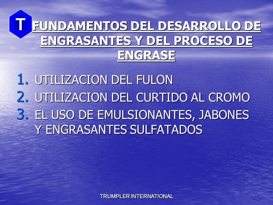 FACTORES QUE INFLUYEN EN LA FIJACION Y AGOTAMIENTO TIPO DE CURTIDO Y RECURTIDO TIPO DE CURTIDO Y RECURTIDO ESTABILIDAD DE LA EMULSION DEL ENGRASANTE ESTABILIDAD DE LA EMULSION DEL ENGRASANTE pH DEL BAÑO pH DEL BAÑO TEMPERATURA TEMPERATURA TIEMPO TIEMPO CONCENTRACION DE SALES EN EL BAÑO CONCENTRACION DE SALES EN EL BAÑO DUREZA DEL AGUA DUREZA DEL AGUA ACCION MECANICA ACCION MECANICA T TRUMPLER INTERNATIONAL