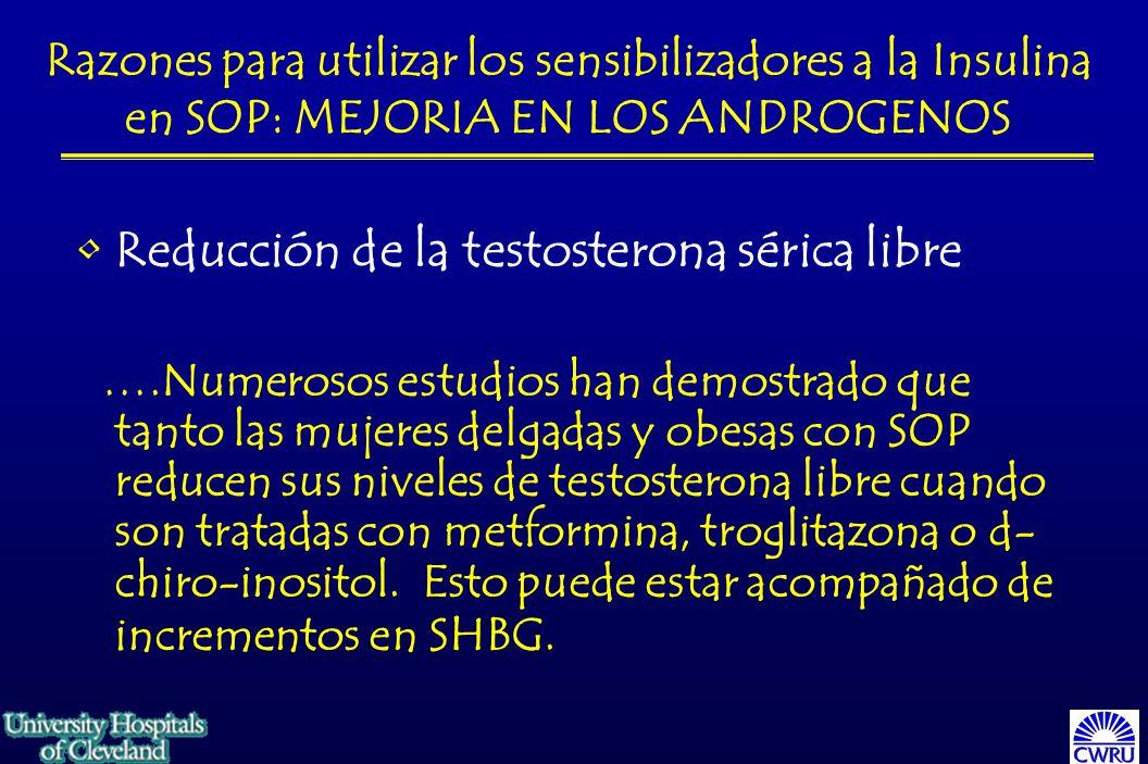 Razones para utilizar los sensibilizadores a la Insulina en SOP: MEJORIA EN LOS ANDROGENOS Reducción de la testosterona sérica libre ….Numerosos estudios han demostrado que tanto las mujeres delgadas y obesas con SOP reducen sus niveles de testosterona libre cuando son tratadas con metformina, troglitazona o d- chiro-inositol.