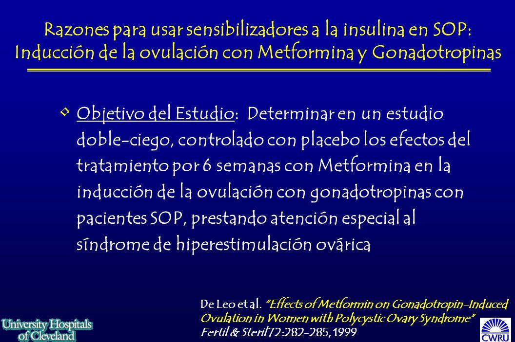 Razones para usar sensibilizadores a la insulina en SOP: Inducción de la ovulación con Metformina y Gonadotropinas Objetivo del Estudio: Determinar en un estudio doble-ciego, controlado con placebo los efectos del tratamiento por 6 semanas con Metformina en la inducción de la ovulación con gonadotropinas con pacientes SOP, prestando atención especial al síndrome de hiperestimulación ovárica De Leo et al.