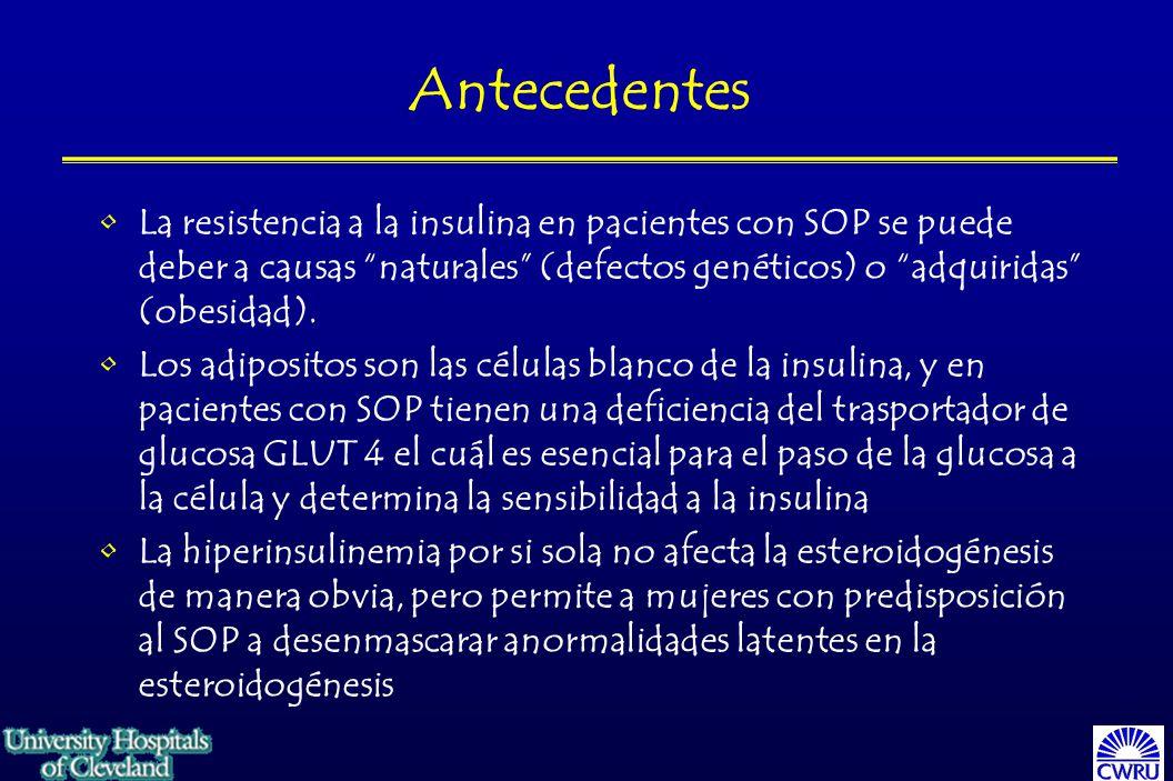 Prevalencia: SOP un problema enorme 4-6% de las mujeres en eded reproductiva (¡depende de donde!) Anovulación representa el 40% de las causas de infertilidad en las mujeres Es la causa mas común de disfunción ovulatoria Podría ser la culpable de serios problemas a la salud pública Clínica de Diabetes**: de 49 mujeres premenopáusicas DM tipo 2, 82% tenían ovarios poliquísticos en ultrasonido 52% evidencia de hiperandrogenismo/anormalidades menstruales **Conn JJ et al: The prevalence of polycystic ovaries in women with type 2 diabetes Clin Endocrinol (Oxf) 52:81-86, 2000