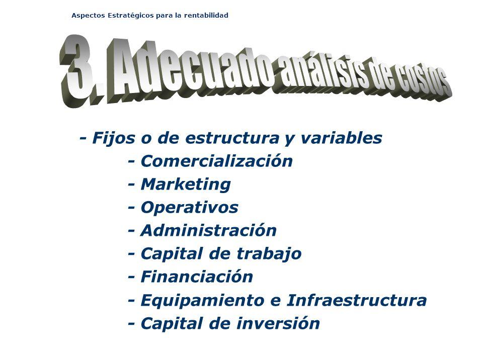Aspectos Estratégicos para la rentabilidad - Fijos o de estructura y variables - Comercialización - Marketing - Operativos - Administración - Capital