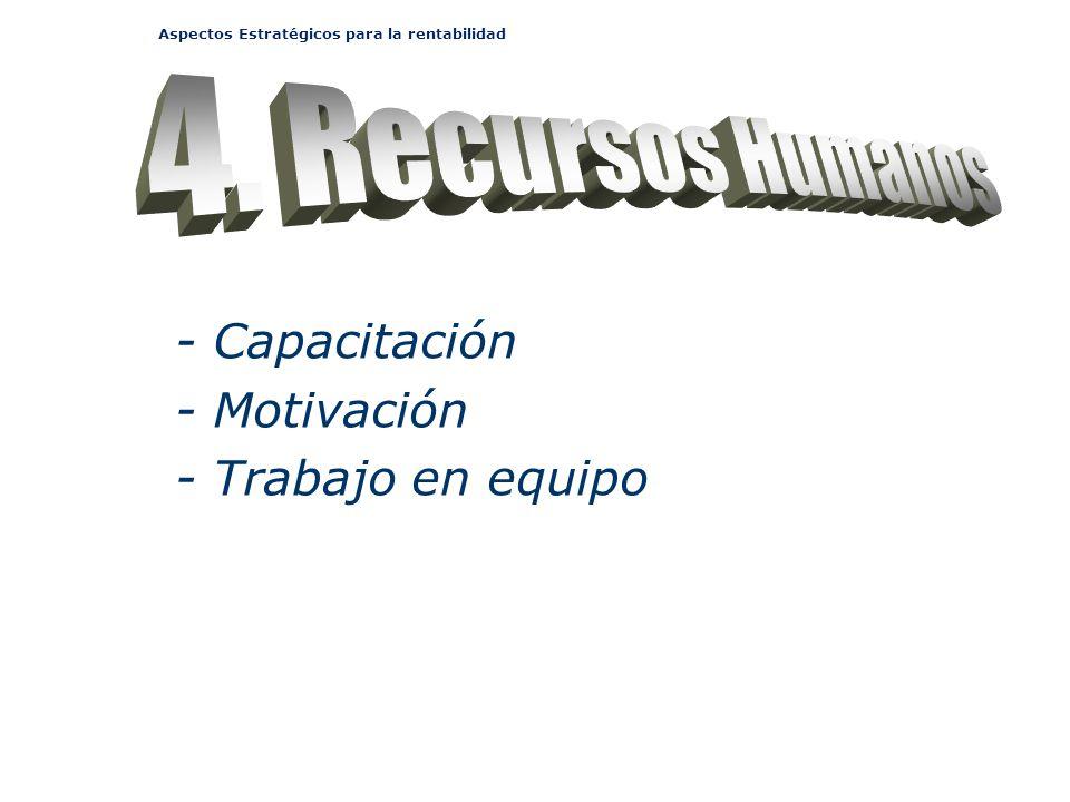 Aspectos Estratégicos para la rentabilidad - Capacitación - Motivación - Trabajo en equipo