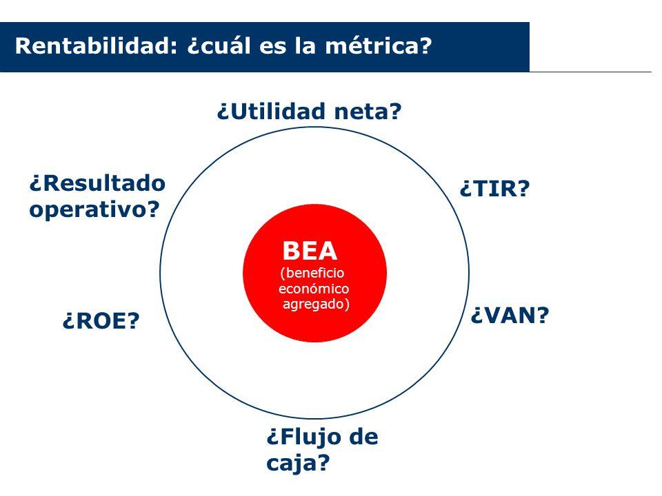 Rentabilidad: ¿cuál es la métrica? ¿Utilidad neta? ¿ROE? ¿Resultado operativo? ¿VAN? ¿TIR? BEA (beneficio económico agregado) ¿Flujo de caja?