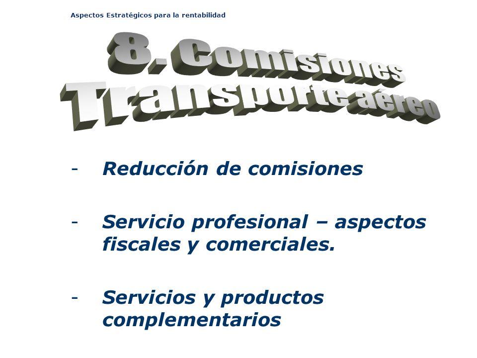 Aspectos Estratégicos para la rentabilidad -Reducción de comisiones -Servicio profesional – aspectos fiscales y comerciales. -Servicios y productos co