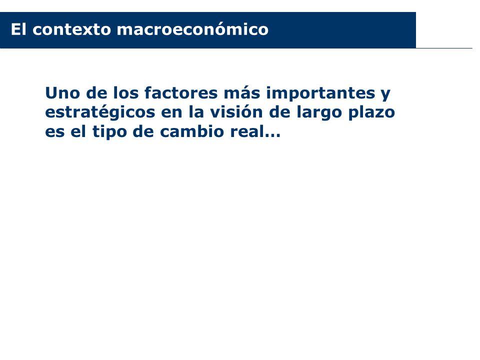 El contexto macroeconómico Uno de los factores más importantes y estratégicos en la visión de largo plazo es el tipo de cambio real…