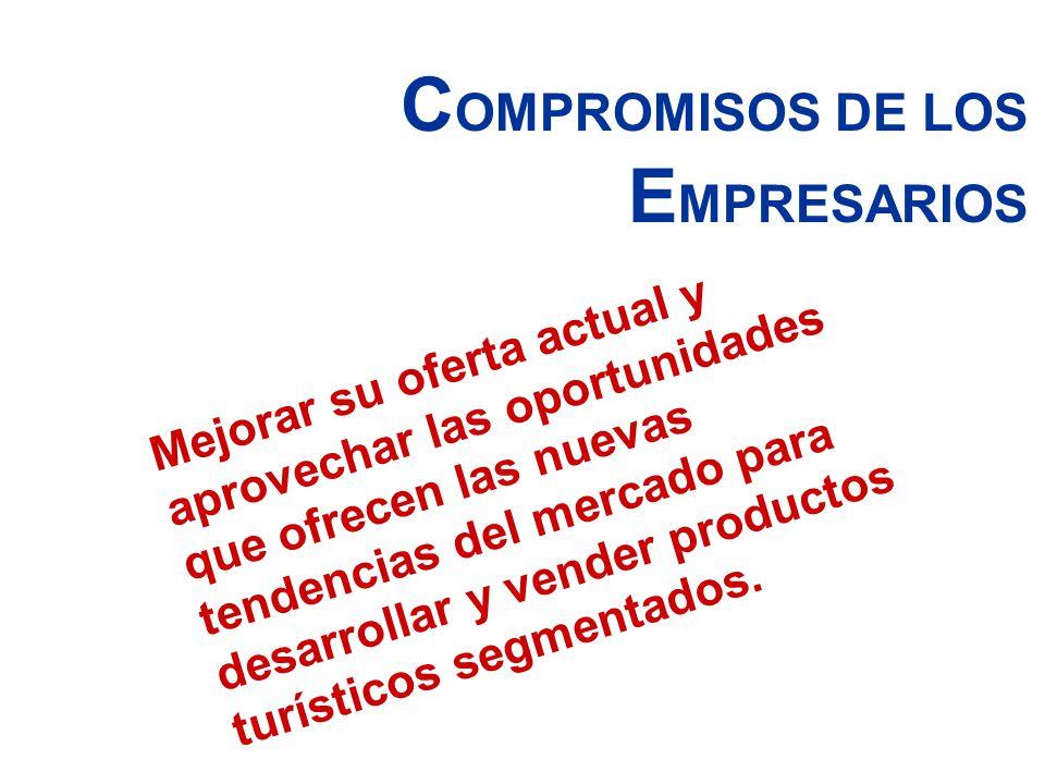 C OMPROMISOS DE LOS E MPRESARIOS Mejorar su oferta actual y aprovechar las oportunidades que ofrecen las nuevas tendencias del mercado para desarrolla