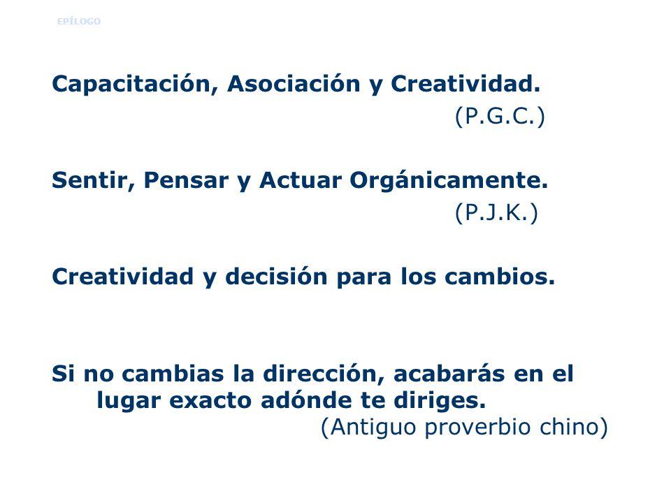 EPÍLOGO Capacitación, Asociación y Creatividad. (P.G.C.) Sentir, Pensar y Actuar Orgánicamente. (P.J.K.) Creatividad y decisión para los cambios. Si n