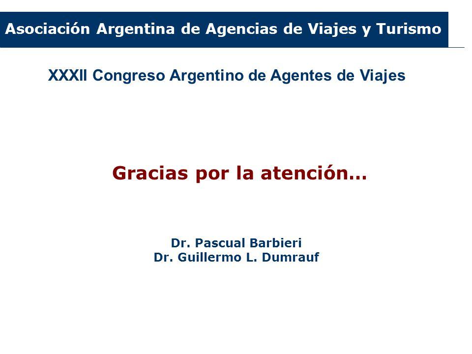 Asociación Argentina de Agencias de Viajes y Turismo XXXII Congreso Argentino de Agentes de Viajes Gracias por la atención… Dr. Pascual Barbieri Dr. G