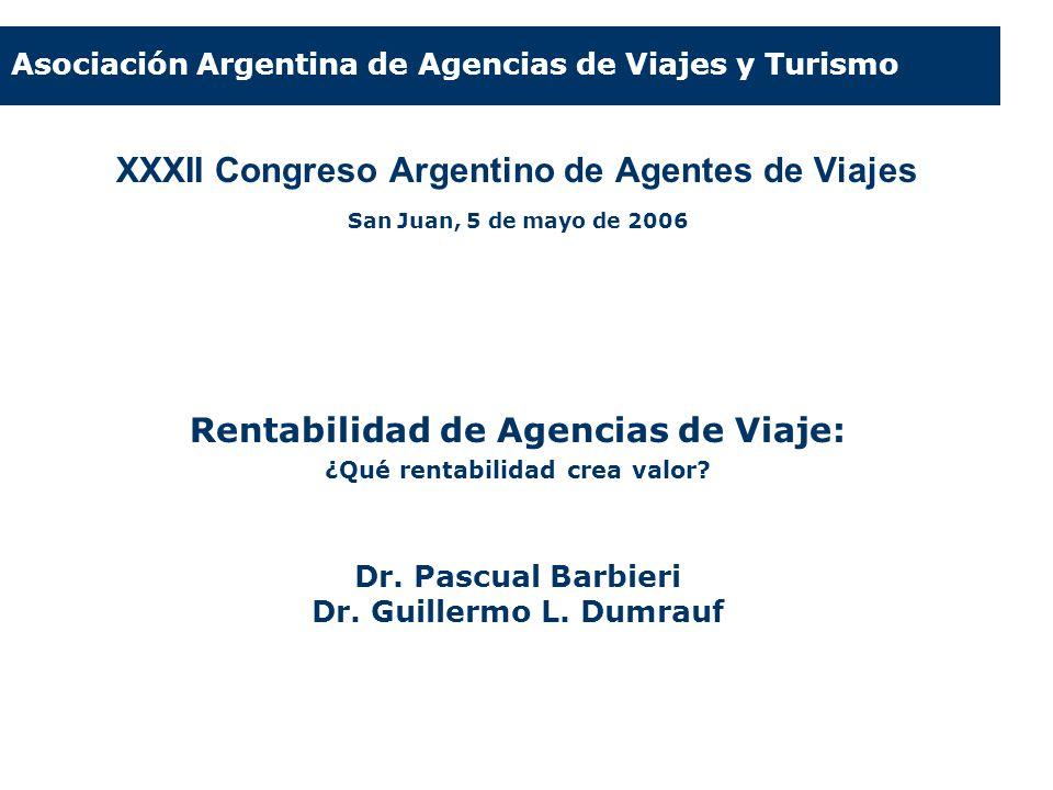 XXXII Congreso Argentino de Agentes de Viajes San Juan, 5 de mayo de 2006 Rentabilidad de Agencias de Viaje: ¿Qué rentabilidad crea valor? Dr. Pascual