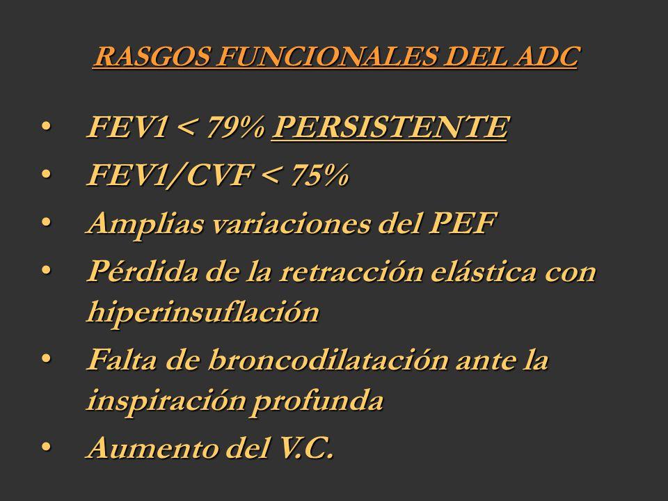 RASGOS FUNCIONALES DEL ADC FEV1 < 79% PERSISTENTE FEV1 < 79% PERSISTENTE FEV1/CVF < 75% FEV1/CVF < 75% Amplias variaciones del PEF Amplias variaciones