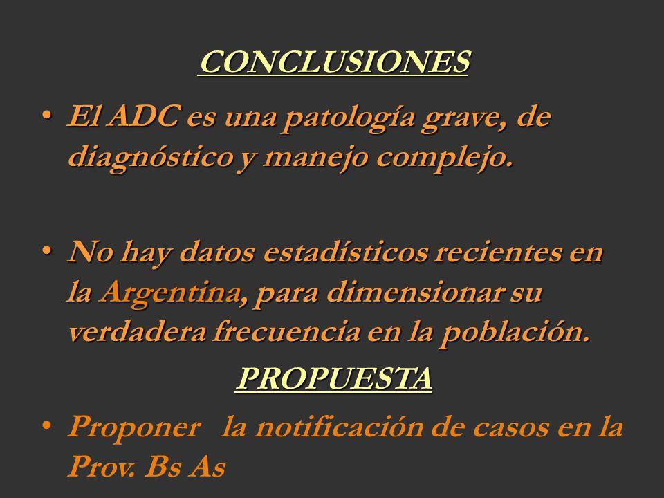 CONCLUSIONES El ADC es una patología grave, de diagnóstico y manejo complejo. El ADC es una patología grave, de diagnóstico y manejo complejo. No hay
