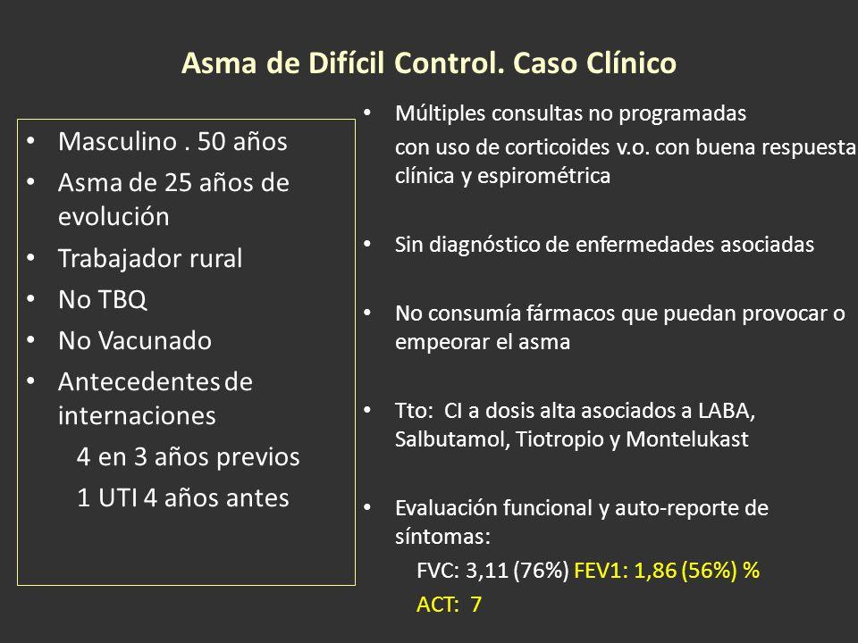 Conducta No se realiza esputo inducido por falta de disponibilidad Se investigan y descartan patologías asociadas que dificulten el manejo del asma (ERGE, RS, bronquiectasias, etc) Se evalúa cumplimiento adecuado de la medicación Interpretación Se considera ADC fenotipo dependiente de corticoides de acuerdo a los criterios mayores y menores IgE: 576 UI/L