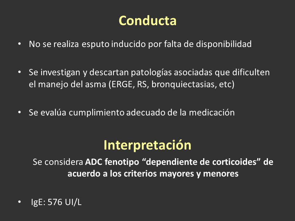 Conducta No se realiza esputo inducido por falta de disponibilidad Se investigan y descartan patologías asociadas que dificulten el manejo del asma (E