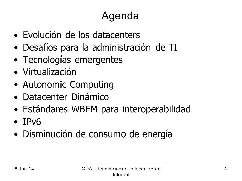6-Jun-14QDA – Tendencias de Datacenters en Internet 2 Agenda Evolución de los datacenters Desafíos para la administración de TI Tecnologías emergentes Virtualización Autonomic Computing Datacenter Dinámico Estándares WBEM para interoperabilidad IPv6 Disminución de consumo de energía