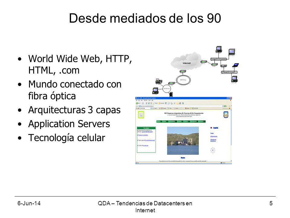6-Jun-14QDA – Tendencias de Datacenters en Internet 6 Más tecnologías de acceso y dispositivos 2.5G 3G, 4G WiFi WiMAX Bluetooth Ethernet (wired), DSL, others BTS Access point SOHO Router Camara Digital Camcorder PDA