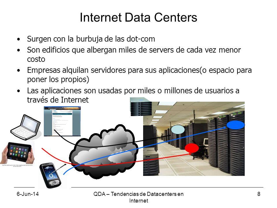6-Jun-14QDA – Tendencias de Datacenters en Internet 8 Internet Data Centers Surgen con la burbuja de las dot-com Son edificios que albergan miles de servers de cada vez menor costo Empresas alquilan servidores para sus aplicaciones(o espacio para poner los propios) Las aplicaciones son usadas por miles o millones de usuarios a través de Internet