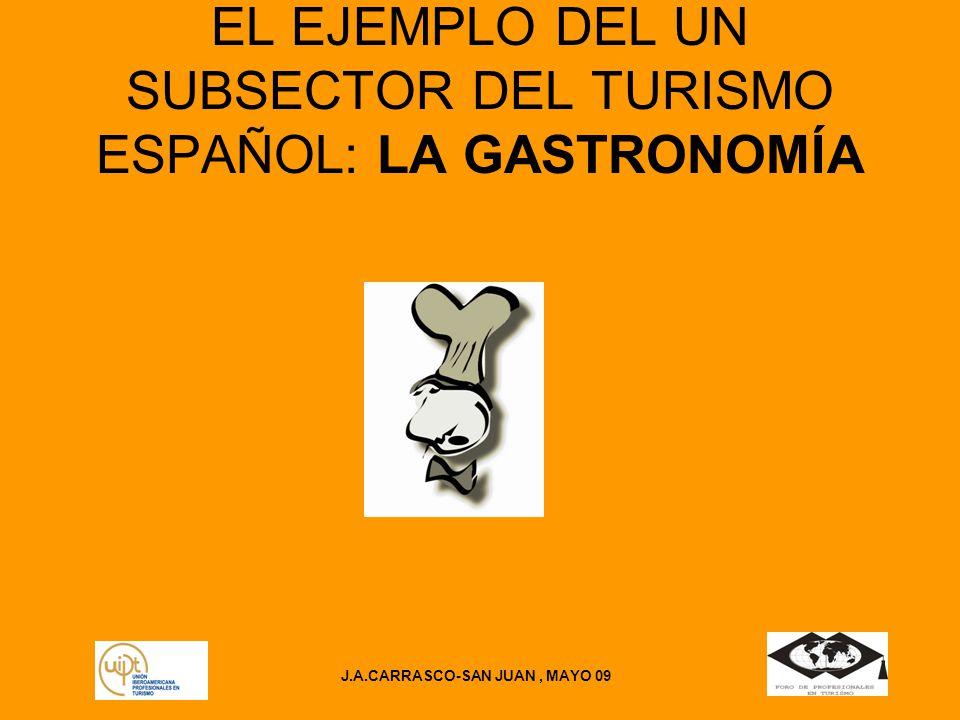 J.A.CARRASCO-SAN JUAN, MAYO 09 EL EJEMPLO DEL UN SUBSECTOR DEL TURISMO ESPAÑOL: LA GASTRONOMÍA
