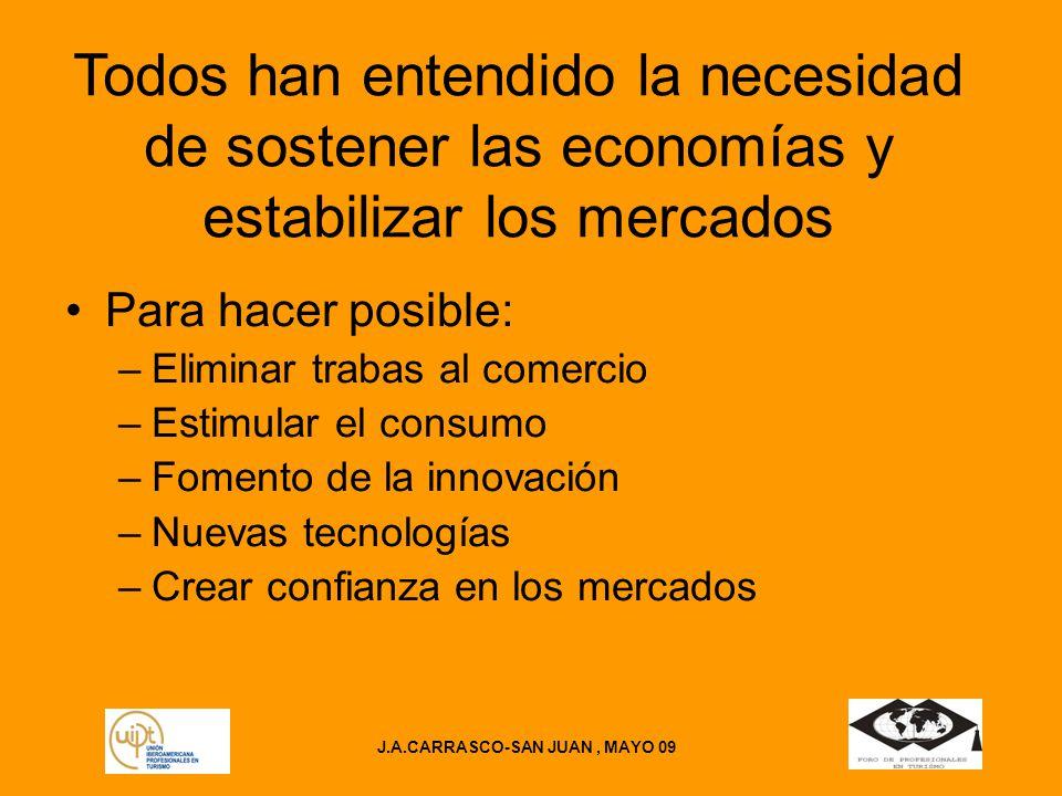 J.A.CARRASCO-SAN JUAN, MAYO 09 Todos han entendido la necesidad de sostener las economías y estabilizar los mercados Para hacer posible: –Eliminar trabas al comercio –Estimular el consumo –Fomento de la innovación –Nuevas tecnologías –Crear confianza en los mercados