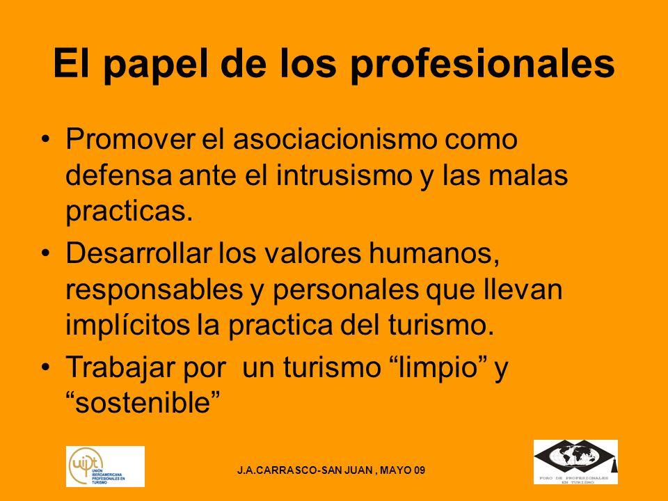 J.A.CARRASCO-SAN JUAN, MAYO 09 El papel de los profesionales Promover el asociacionismo como defensa ante el intrusismo y las malas practicas.