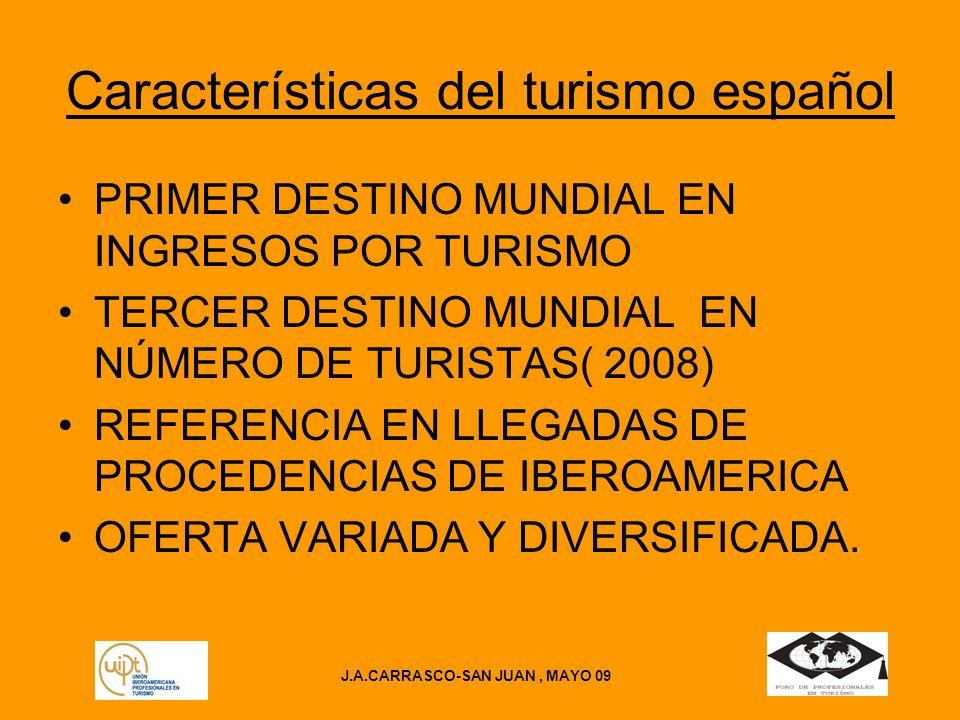 J.A.CARRASCO-SAN JUAN, MAYO 09 Características del turismo español PRIMER DESTINO MUNDIAL EN INGRESOS POR TURISMO TERCER DESTINO MUNDIAL EN NÚMERO DE TURISTAS( 2008) REFERENCIA EN LLEGADAS DE PROCEDENCIAS DE IBEROAMERICA OFERTA VARIADA Y DIVERSIFICADA.