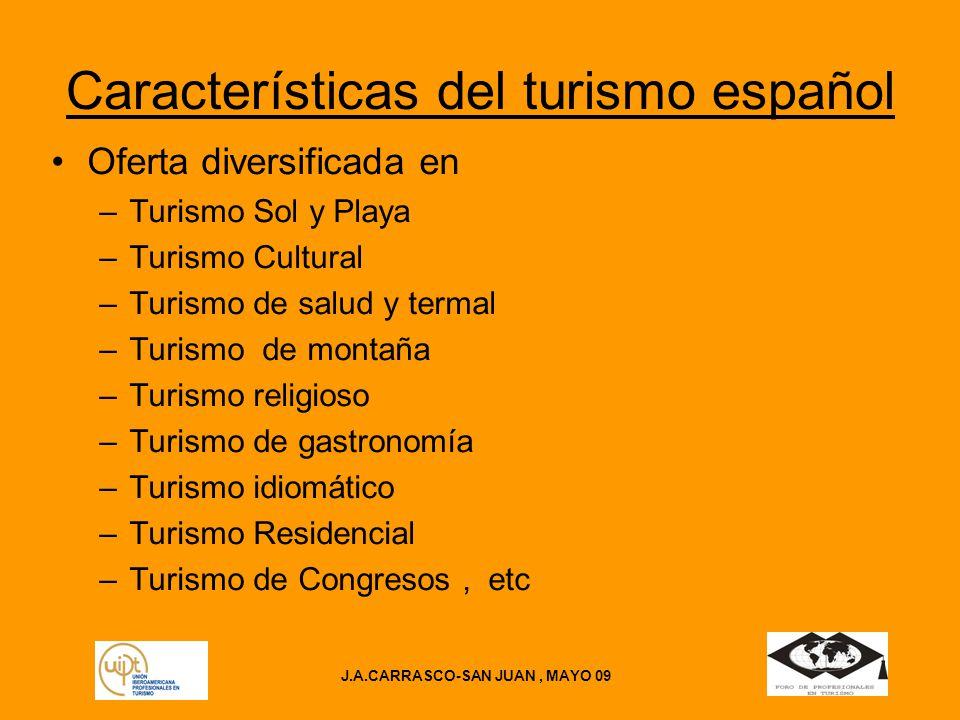 J.A.CARRASCO-SAN JUAN, MAYO 09 DESPLAZAMIENTO DE TURISMO FUERA DE LAS FRONTERAS Desplazamientos 11,2 millones de desplazamientos(2008) Variación respecto a 2007 0,4 %