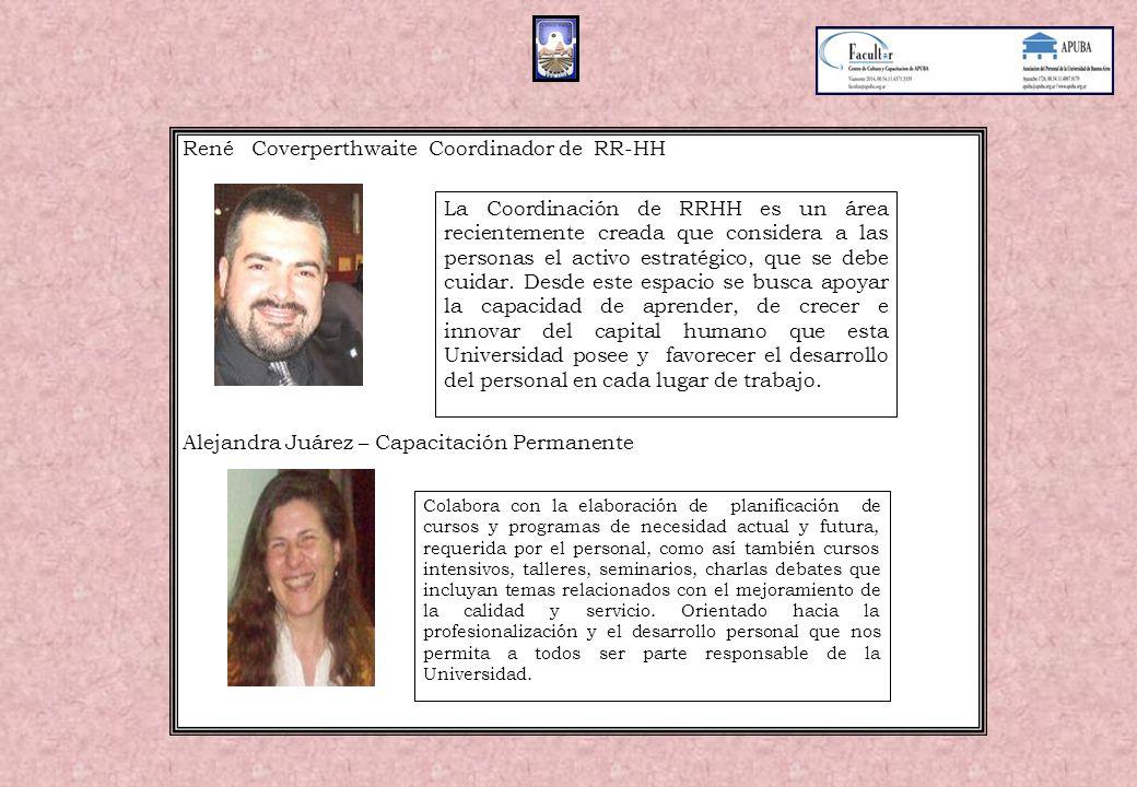 René Coverperthwaite Coordinador de RR-HH Alejandra Juárez – Capacitación Permanente La Coordinación de RRHH es un área recientemente creada que considera a las personas el activo estratégico, que se debe cuidar.