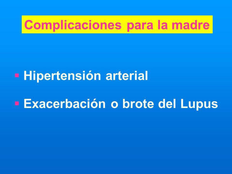 Hipertensión arterial Exacerbación o brote del Lupus Complicaciones para la madre