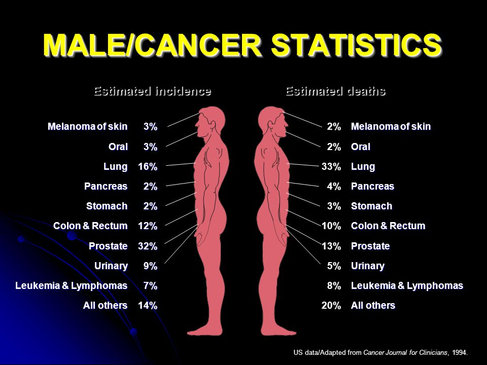 MALE/CANCER STATISTICS Estimated incidenceEstimated deaths Melanoma of skin OralLungPancreasStomach Colon & Rectum ProstateUrinary Leukemia & Lymphomas All others 3%3%16%2%2%12%32%9%7%14% US data/Adapted from Cancer Journal for Clinicians, 1994.