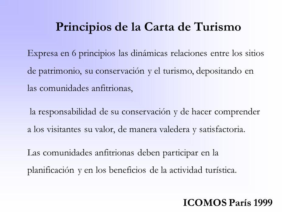 Principios de la Carta de Turismo Expresa en 6 principios las dinámicas relaciones entre los sitios de patrimonio, su conservación y el turismo, depos