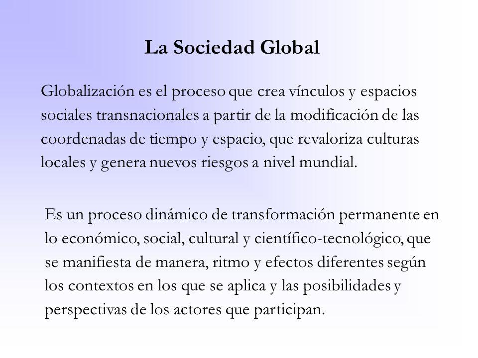 La Sociedad Global Globalización es el proceso que crea vínculos y espacios sociales transnacionales a partir de la modificación de las coordenadas de