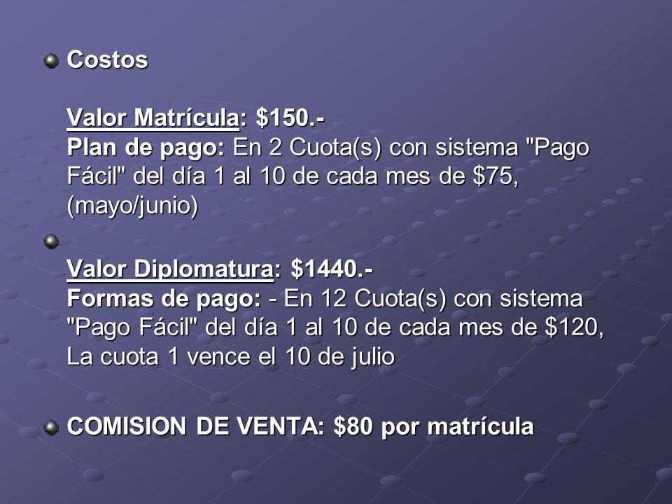 Costos Valor Matrícula: $150.- Plan de pago: En 2 Cuota(s) con sistema Pago Fácil del día 1 al 10 de cada mes de $75, (mayo/junio) Valor Diplomatura: $1440.- Formas de pago: - En 12 Cuota(s) con sistema Pago Fácil del día 1 al 10 de cada mes de $120, La cuota 1 vence el 10 de julio COMISION DE VENTA: $80 por matrícula