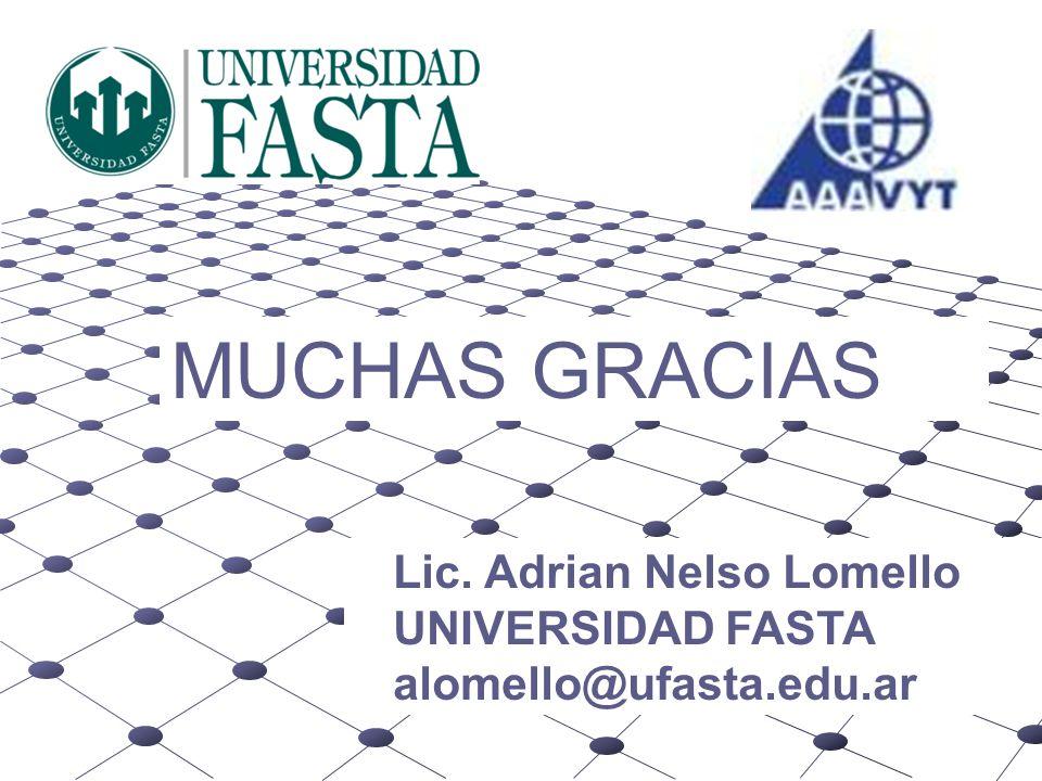 MUCHAS GRACIAS Lic. Adrian Nelso Lomello UNIVERSIDAD FASTA alomello@ufasta.edu.ar