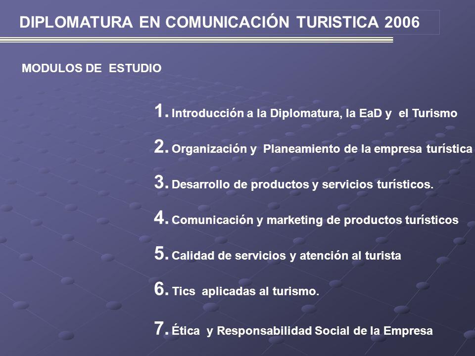 DIPLOMATURA EN COMUNICACIÓN TURISTICA 2006 MODULOS DE ESTUDIO 1. Introducción a la Diplomatura, la EaD y el Turismo 2. Organización y Planeamiento de