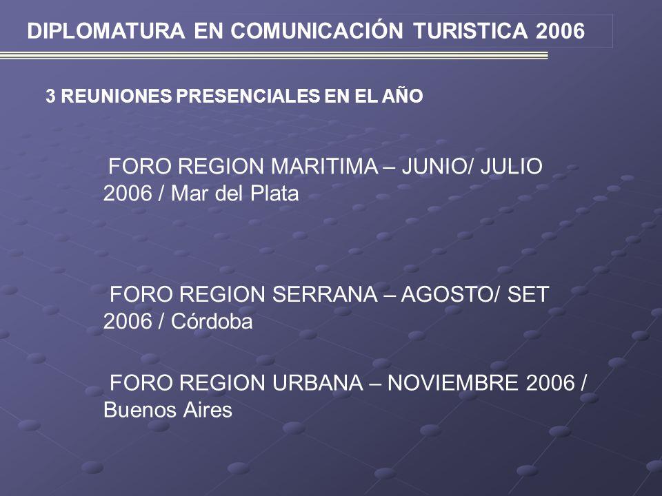 DIPLOMATURA EN COMUNICACIÓN TURISTICA 2006 3 REUNIONES PRESENCIALES EN EL AÑO FORO REGION MARITIMA – JUNIO/ JULIO 2006 / Mar del Plata FORO REGION SER
