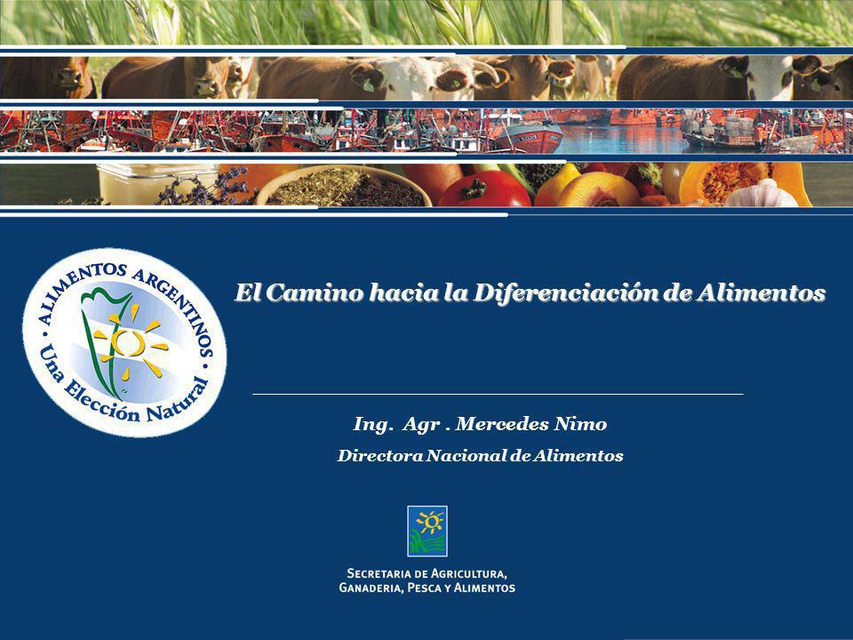 El Camino hacia la Diferenciación de Alimentos Ing. Agr. Mercedes Nimo Directora Nacional de Alimentos