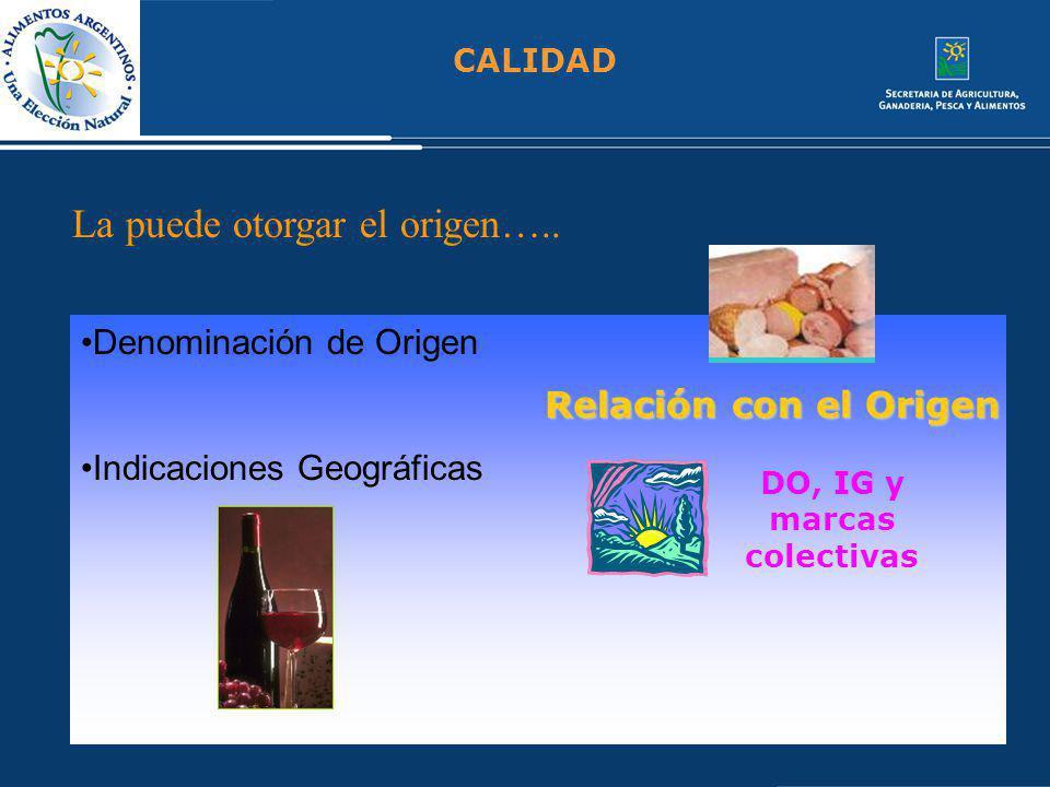 CALIDAD La puede otorgar el origen….. Denominación de Origen Indicaciones Geográficas DO, IG y marcas colectivas Relación con el Origen
