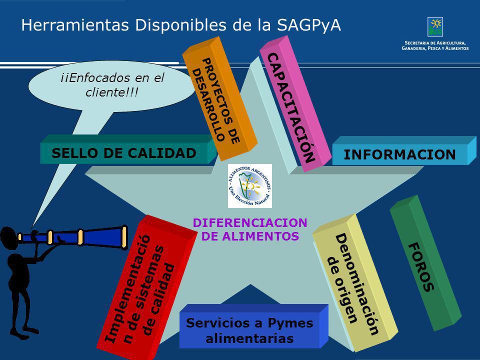 Herramientas Disponibles de la SAGPyA DIFERENCIACION DE ALIMENTOS CAPACITACIÓN INFORMACION Denominación de origen FOROS Servicios a Pymes alimentarias