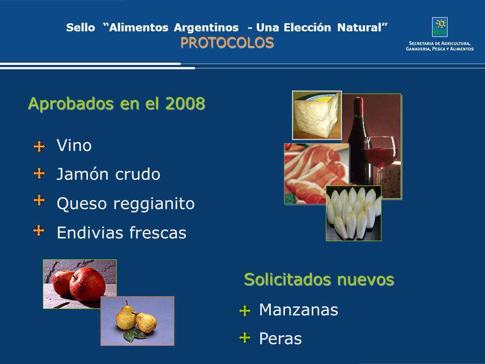 Vino Jamón crudo Queso reggianito Endivias frescas PROTOCOLOS Sello Alimentos Argentinos - Una Elección Natural PROTOCOLOS Aprobados en el 2008 Solici