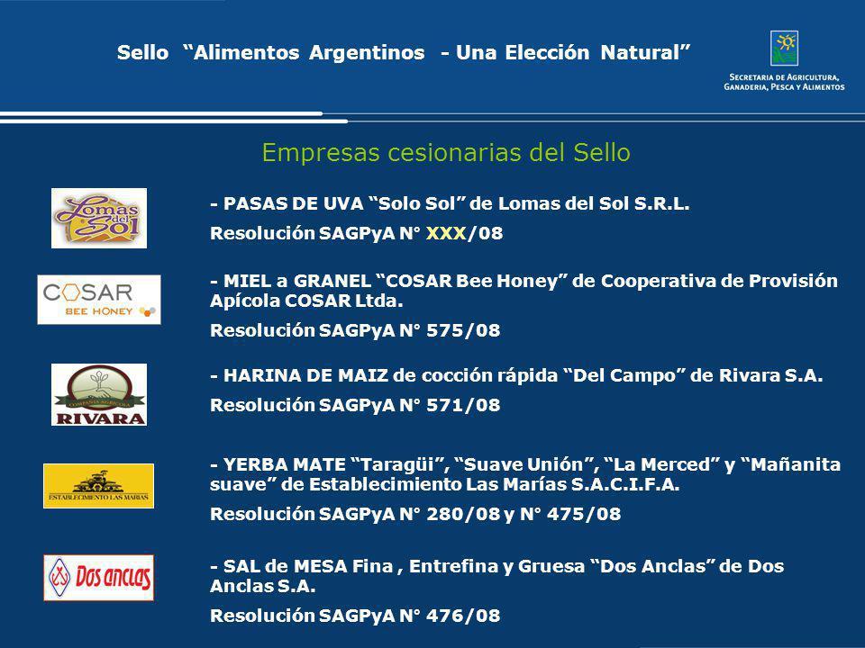 Sello Alimentos Argentinos - Una Elección Natural Empresas cesionarias del Sello - YERBA MATE Taragüi, Suave Unión, La Merced y Mañanita suave de Esta