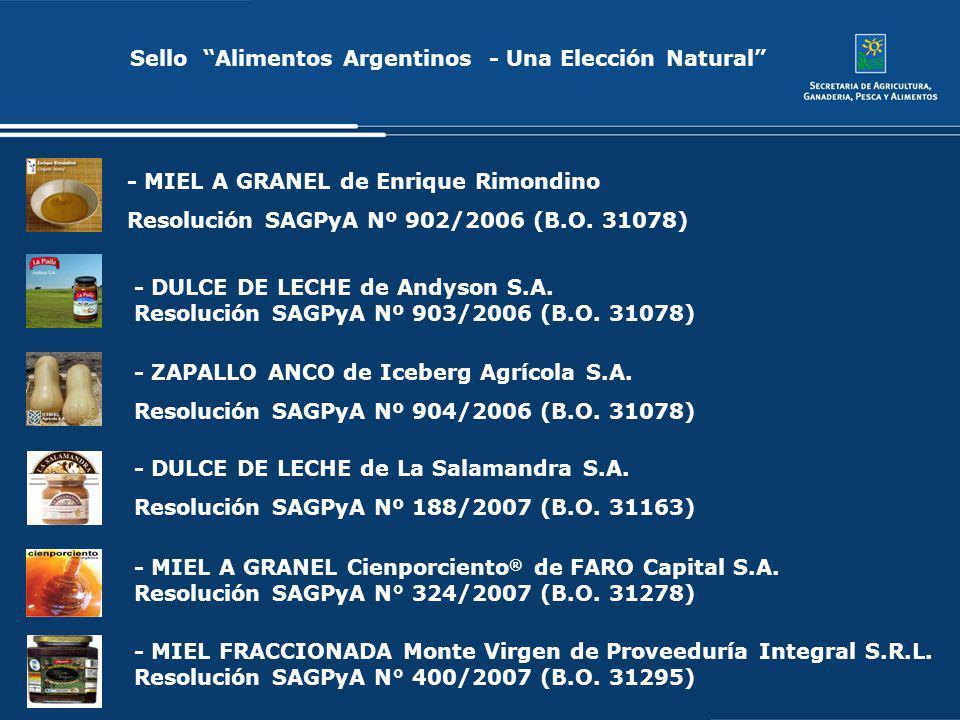 Sello Alimentos Argentinos - Una Elección Natural - MIEL A GRANEL de Enrique Rimondino Resolución SAGPyA Nº 902/2006 (B.O. 31078) - ZAPALLO ANCO de Ic